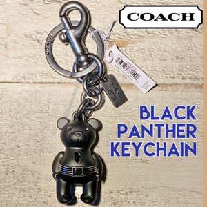 COACH MARVEL Black Panther Teddy Bear Bag Keychain